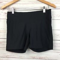 Lucy Womens Small S Shorts Workout Athletic Stretch Black Wide Waist