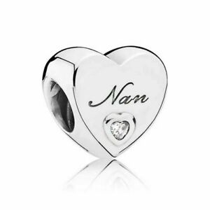 Pandora Genuine Silver Nan's Love Heart Charm Sterling UK 797031CZ