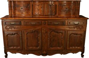 VINTAGE FRENCH COUNTRY SIDEBOARD  WALNUT  CARVED FLOWERS 1910
