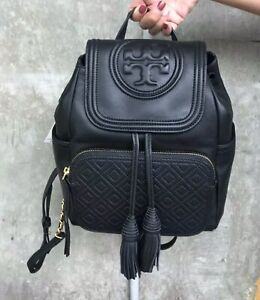 Tory Burch Black Leather Quilted Fleming Backpack, Authentic, New With Tags