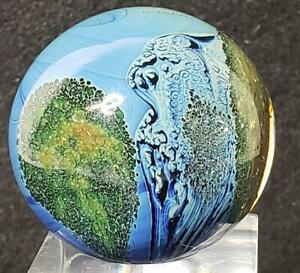 Josh Simpson Inhabited Planet Contemporary Art Glass Marble Signed 1996