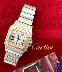 Cartier Santos W20058C4 Galbee Men's Gold & Steel Watch, Velvet Pouch, Serviced