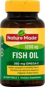 Nature Made Fish Oil 1200mg OMEGA-3 60 Softgels Dietary Supplement Lemon Flavor