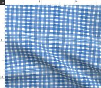 Sky Gingham Picnic Summer Watercolor Blue Check Spoonflower Fabric by the Yard
