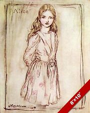 BEAUTIFUL PORTRAIT OF ALICE IN WONDERLAND LEWIS CARROL CANVAS PAINTING ART PRINT