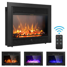"28.5"" Fireplace Electric Embedded Insert Heater Glass Log Flame Remote"