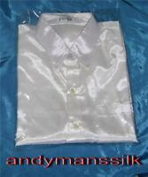Mens Thai Silk Shirt / White / Short - Long Sleeve / Small-Med-Large-XL-XXL-XXXL