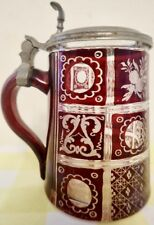 Rare 0.3L German Ruby Flashed Wheel Engraved Glass Stein Inlaid Pewter Lid  LM89