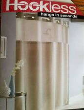 Hookless Window pane Jacquard Shower Curtain with Peva Liner Taupe
