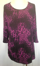 Ladies Womens 3/4 Sleeve Stretch Top Blouse Shirt Animal Print Millers Size 12