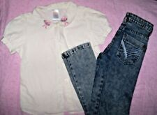 "2pc Lot~Girls Sz.8 Gymboree ""Paris"" ss button Shirt & Crystal Vogue skinny Jeans"