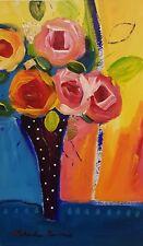 Natasha Barnes 1of a K Original Art hard to find $1000 18 x 11 Red Blue Floral