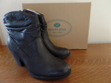 Montana Daron Leather Western Ankle Boots / Booties- Black -BNIB Womens Size 10