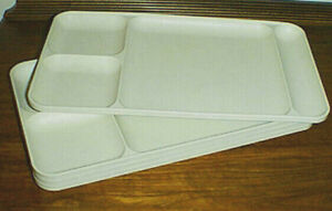 TUPPERWARE Divided Lunch, Dinner Plates / Snack Trays #1535  Set of (4) ALMOND