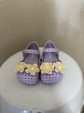 Mini Melissa Furadinha  XII Lilac Yellow Flower Mary Jane Shoes Toddler Size 7