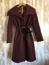 SOIA & KYO Deep Red Belted Wool Collar Button Winter Pea Coat Jacket P S Small*