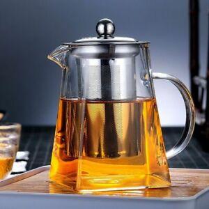 Heat-Resistant Teapot Borosilicate Glass Square Stainless Steel Filter Tea Pot
