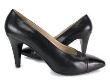 Authentic Chanel Vintage All Black Spectator Cap Toe Heels Pumps Sz 37.5 US 7