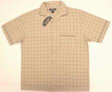 Puritan Sleepwear Top Shirt XL Brown Plaid Short Sleeve Front Pocket New