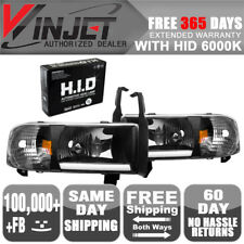 Fit 94-02 Dodge Ram 1500 2500 3500 4000 LED Bar Headlights Black Clear + 6K HID