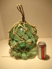 "Vintage Green Glass Fishing Float Buoy Ball With Netting & Pontil 9.75""H / 33""C"