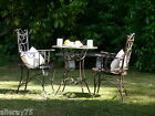 FRENCH GARDEN SET BREAKFAST black TABLE +2 CHAIRS WROUGHT IRON OUTDOOR QUALITY
