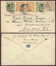 PORTUGAL MADEIRA 1909 FUNCHAL MULTI FRANKING ENVELOPE MONONGRAM M