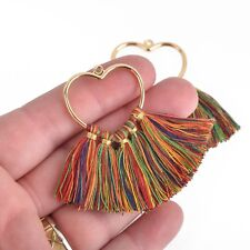 2 Large Tassel Charms Gold Heart with Rainbow Fringe Tassels 75x55mm chs4432