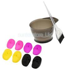 Pro Hairdressing Salon Hair Color Dye Tint Bowl Brush&Silicone Ear Cover Set