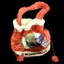 Australian Souvenir 3D Koala Head Childs Small Dilly Plush Bag Satin Lined