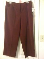 "New Briggs NY wine poly rayon spandex size 12 side pockets 23"" inseam crop pants"