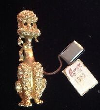 Rare NWT Monet 1960 Poodle Goldtone Pin Brooch HTF