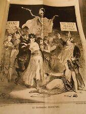Litho Caricature 1869 - Le Carnaval Perpétuel Les 7 péchés Capitaux Squelette