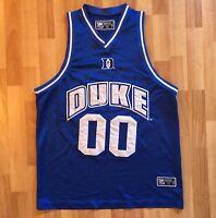 Vtg 90s Duke Blue Devils #00 Mens Blue Ncaa Basketball Jersey Sz Medium