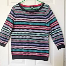Land's End Soft&Cozy Cot sweater M(10-12) 3/4 slv Pretty Nordic print Blue trim