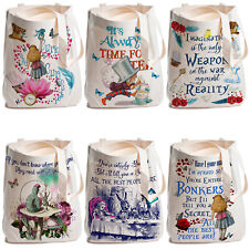 Alice in Wonderland Tote Bag Eco Friendly Canvas Reusable Shopper Ladies Handbag