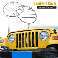 Chrome Headlight Cover Guard Lamp Guard Protector For Jeep Wrangler TJ 1997-2006