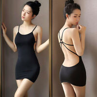 Womens Ladies Sheer Sexy Bodycon Backless Evening Party Cocktail Club Mini Dress
