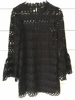 Sugar Lips Dress Womens XS Extra Small Black Lace Bell Sleeve Boho