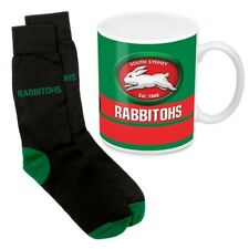 125057 SOUTH SYDNEY RABBITOHS NRL 330ML COFFEE MUG AND KNIT ADULT FIT SOCKS GIFT