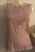 Christian Dior 1200$ Blouse Top Shirt Crochet Chiffon Runway Pink 8 40 S M Lace