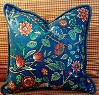 Throw Pillow Vintage Floral Birds Motif - English Country Chintz Blue Botanical