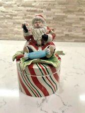 Vintage Fitz and Floyd Peppermint Stripe Santa Candy Christmas Lidded Box 2007