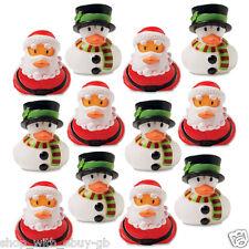 Christmas Plastic Rubber Ducks Santa & Snowman Bath Duck DIY Home Decor X 2