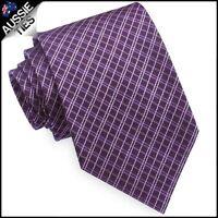 Grape & White Crosshatch Mens Tie men's necktie