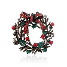 buntes Vintage Stil Weihnachtskranz Brosche Strass Ansteck Geschenk BR406