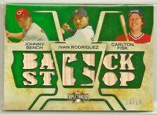 Johnny Bench/Ivan Rodriguez/Carlton Fisk 2008 Topps Triple Threads GU Bat #'d/18