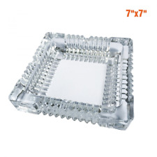 Large Square Glass Ashtray for Menbig Cigar Smoke Home and Restaurant 7x7inch