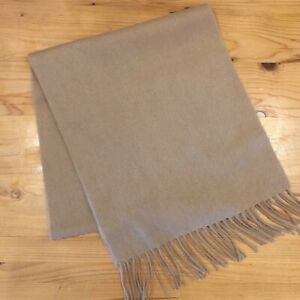 New! Mens 100% Cashmere Scarf Camel Brown Tan Fringed 54 x 12 E723