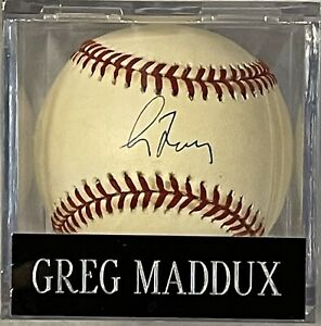 Greg Maddux Atlanta Braves signed autographed NATIONAL LEAGUE BASEBALL W Cube